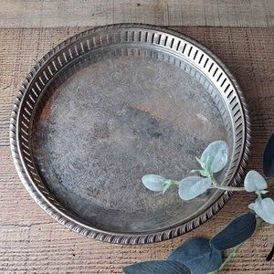 Vintage Round Silver Catch-all Tray